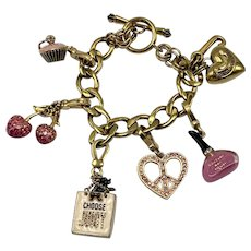 Vintage Juicy Couture Gold-Look Charm Bracelet with Five Charms