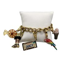 Juicy Couture Gold-Look Charm Bracelet with Peppermint and Parrot Charms