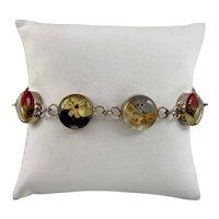 Vintage Dried Flower Sterling and Honey Resin Link Bracelet