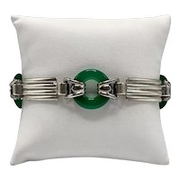 "Vintage ""LifeSavers"" Green Jade and Sterling Link Bracelet"
