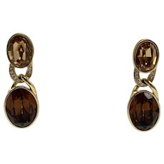 Vintage Ciner Yellow and Brown Topaz Color Gold-tone Clip-on Drop Earrings