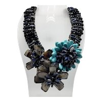 Turquoise and Quartz One-of-a-Kind Handmade Floral Necklace