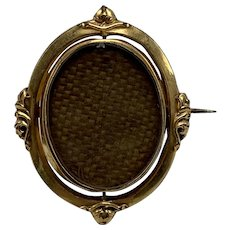 Mid 1800s Antique Victorian Rolled Gold Swivel Woven Hair Brooch