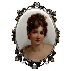 1920s Porcelain Portrait Brooch of A Woman With Gold Tone Frame