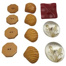 Pair Reverse Carved Lucite Buttons and Nine Bakelite Buttons