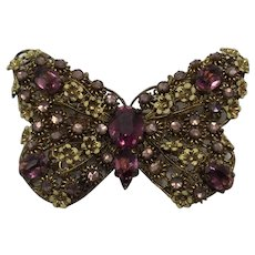 1930s Czech Butterfly With Yellow Enamel Flowers and Amethyst Colored Glass