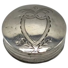 Silver Patch Box by Joseph Taylor Silver Birmingham, England Dating from 1775