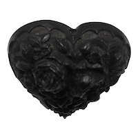 Victorian Mourning Jewelry Bog Oak Heavily Carved Floral Heart Brooch