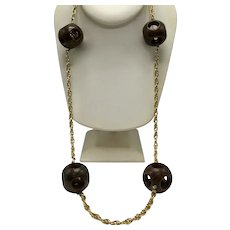 Long Ball-In-Ball Chocolate-Swirl Bakelite Necklace On Gold-Tone Chain