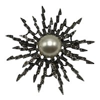 Vintage Sterling Marcasite and Faux Pearl Sunburst Pin
