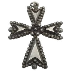 Small Victorian Cross Pendant with Arrows Pointing to Center