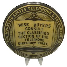 Vintage Mountain States Telephone & Telegraph Advertising Mirror/Paperweight