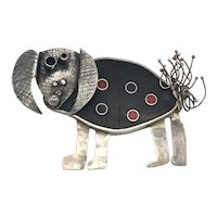 One-of-a-Kind Modernist Abstract Dog Brooch