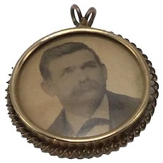 Victorian Rolled Gold Photo Pendant or Charm With Gentleman's Photo