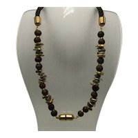 Miriam Haskell Braided Silk Cord Necklace with Stone, Clay, and Gold-Look Beads