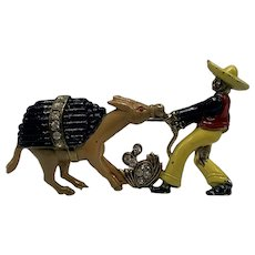 1940s Novelty Pin of Man with Sombrero Pulling A Stubborn Pack-Mule