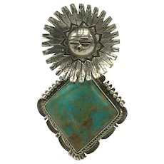 Sterling and Turquoise Surface Kachina Pendant by Bennie Ration