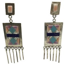 Old Pawn Dangle Earrings Hand Crafted Sterling with Turquoise and Lapis
