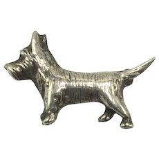 Vintage Sterling Silver Scottie Dog Lapel Pin