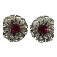 Teardrop Stones Surround Large Ruby-Red Center Clip-On Earrings