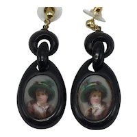 Victorian Drop Earrings With Woman Wearing a Green Hat