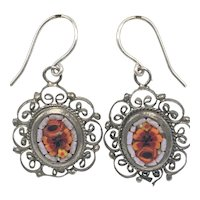Victorian Micro Mosaic Floral Filigree Earrings