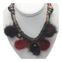Ethnic Necklace with Cord, Metal Chain, and Dyed Faux Fur Balls