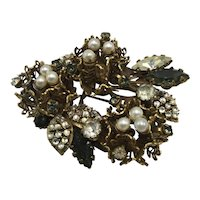 Large Gold Tone Filigree, Stone, and Faux Pearl Floral Bouquet Brooch by Vendome