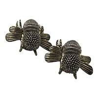 Silver and Gold Look Clip-on Bee Earrings