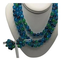 Alice Caviness Blue and Green Triple Strand Choker Necklace with Matching Clip-On Earrings