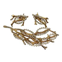 Alice Caviness Gold-Tone and Clear Rhinestone Branches Pin and Clip-on Earrings Set