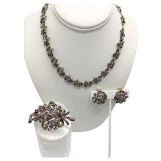 Hollycraft Demi Parure Dated 1952  Amethyst Color Stones