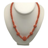 Antique Victorian Coral Bead Ball Necklace