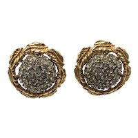 1960s Marvella Clip-On Earrings with Sparkling Centers and Gold-Look Leaf Surrounds