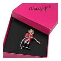 Wendy Gell First Responder Fireman Pin with Original Hot Pink Box