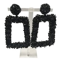 Sachin & Babi Black Floral Clip On  Shoulder-Duster Rectangular Earrings