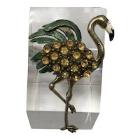 1940s Flamingo Pin with Painted Green Feathers, Yellow Austrian Stones