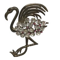 1930s Flamingo Pin with Painted Pink Feathers and Clear and Pink Austrian Stones