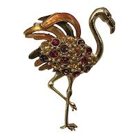 1950s Flamingo Pin Taupe, Orange, and Yellow Pin Copied From 1940s Pieces