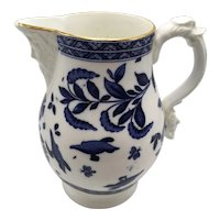 Antique Blue & White Porcelain Pitcher With Mask On Spout and Handle
