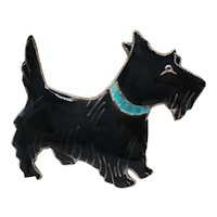 Black Enamel Scottie Dog  Pin on Sterling with Blue Collar