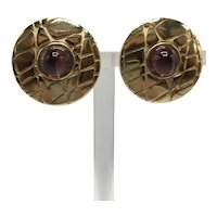 Guy Laroche Paris Gold Color Amethyst-look Cabochon Clip-on Earrings