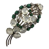 1940s Sterling Floral Brooch with Oval Clear and Round Green Rhinestones