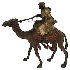 Austrian Cold Painted Bronze Arab Warrior With Rifle On Camel Franz Bergman Style