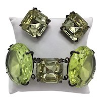 Ginormous Vintage Faceted Glass Link Bracelet and Matching Clip-on Earrings