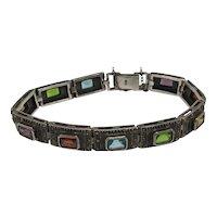 Sterling, Marcasite, and Colorful Gemstone Link Bracelet