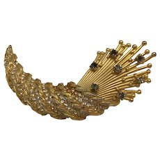 Autumn and Thanksgiving Abstract Gold-Look and Rhinestone Cornucopia/Horn of Plenty Brooch