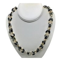 1960s Archimede Sequso for Chanel Black Glass Necklace With Gilt Metal Mountings and Faux Pearls
