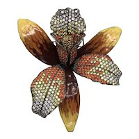 Stunning Orchid Bloom Brooch of Sterling, Enamel, and Colorful Pavé Crystals