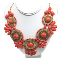 Oversized Orange-Red and Gold-Look Necklace with Ethnic Flair